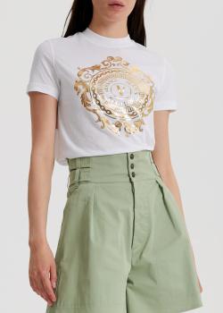 Белая футболка Versace Jeans Couture с золотистым принтом, фото