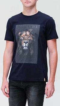 Синяя футболка Billionaire с изображением льва, фото