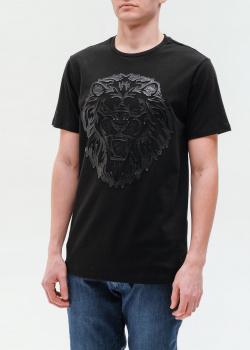 Черная футболка Billionaire с фактурным львом, фото