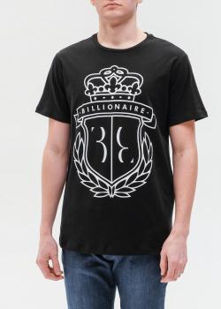 Мужская футболка Billionaire с принтом в виде герба, фото