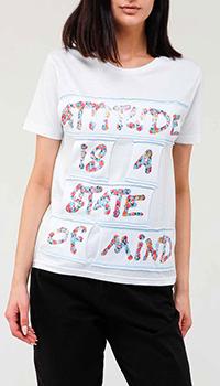 Белая футболка Blumarine с цветочной надписью, фото