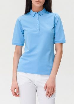 Голубое поло Bogner с логотипом, фото