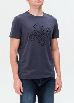 Синяя футболка Bogner с фирменным рисунком, фото