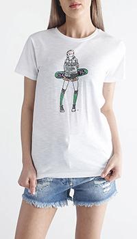 Белая футболка Bogner с зеленым принтом, фото