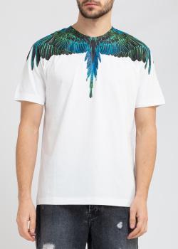 Белая футболка Marcelo Burlon с принтом крыльев, фото