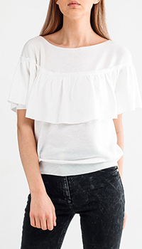 Топ Malo с рюшами белого цвета, фото