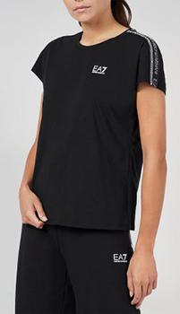 Черная футболка Ea7 Emporio Armani с логотипом, фото
