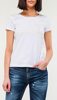 Белая футболка Ea7 Emporio Armani со стразами, фото