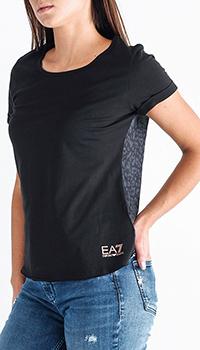 Черная футболка Ea7 Emporio Armani с принтом на спине, фото