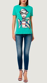 Голубая футболка Elisabetta Franchi с принтом в виде девушки, фото