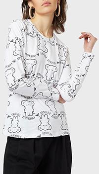 Белый лонгслив Emporio Armani с фирменным принтом, фото