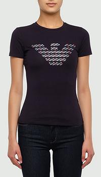 Черная футболка Emporio Armani с брендовым орлом, фото
