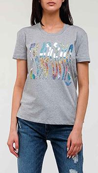 Серая футболка Emporio Armani с брендовой надписью, фото