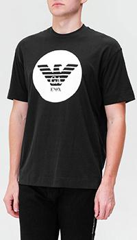 Черная футболка Emporio Armani с фирменным принтом, фото