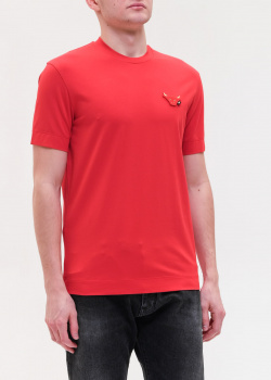 Мужская футболка Emporio Armani красного цвета, фото
