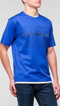 Синяя футболка Emporio Armani с брендовым лого, фото