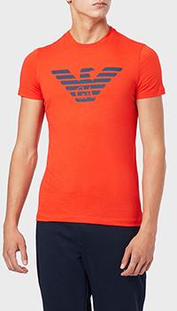 Футболка Emporio Armani оранжевая с логотипом, фото