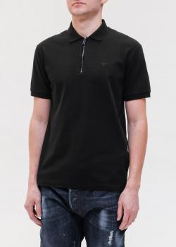 Черное поло Emporio Armani из хлопка, фото