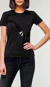 Черная футболка Emporio Armani с декором пайетками, фото