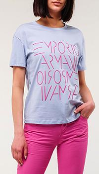Голубая футболка Emporio Armani с принтом, фото