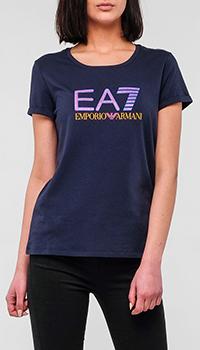 Синяя футболка Emporio Armani с принтом, фото