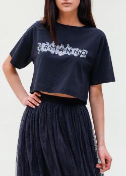 Короткая футболка Ermanno Ermanno Scervino темно-синего цвета, фото