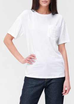 Белая футболка Ermanno Ermanno Scervino с накладным карманом, фото