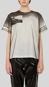 Черная футболка N21 из фатина с принтом, фото