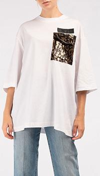 Белая футболка N21 оверсайз с пайетками, фото