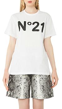 Белая футболка N21 с логотипом, фото