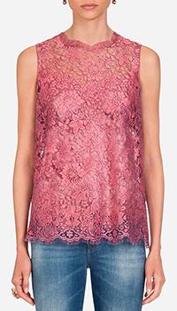 Розовый топ Dolce&Gabbana с кружевом, фото