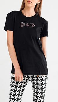 Черная футболка Dolce&Gabbana с паетками, фото