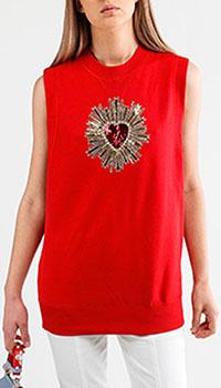 Красный топ Dolce&Gabbana с декором-сердцем, фото