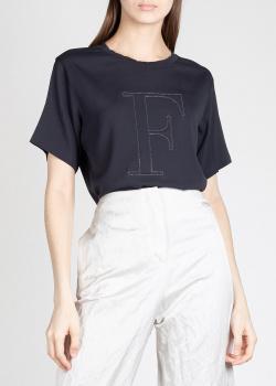 Шелковая футболка Fabiana Filippi с объемной буквой, фото