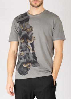 Серая футболка Frankie Morello с изображением скульптуры, фото