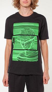 Хлопковая футболка Frankie Morello с зеленым принтом, фото