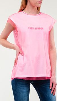Белая футболка Frankie Morello с розовой прозрачной сеткой, фото