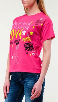 Хлопковая футболка Frankie Morello в розовом цвете, фото