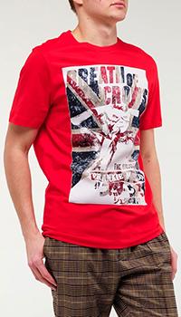 Красная футболка Frankie Morello с британским флагом, фото