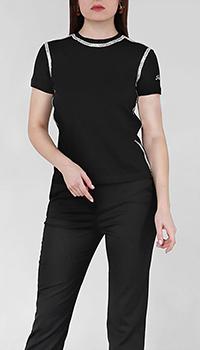 Черная футболка Frankie Morello со стразами, фото
