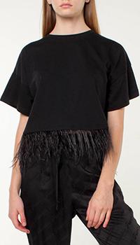 Однотонная футболка Frankie Morello с декором-перьями, фото