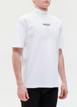 Белая футболка Hugo Boss с высоким воротом, фото