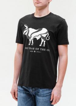 Черная футболка Hugo Boss с быком, фото