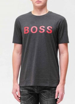 Серая футболка Hugo Boss с принтом, фото