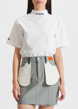Белая футболка Heron Preston с вышивкой на воротнике, фото