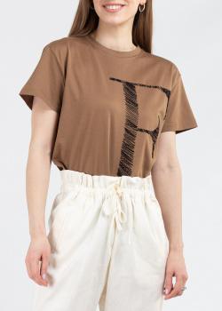 Коричневая футболка Fabiana Filippi с вышивкой-буквой, фото