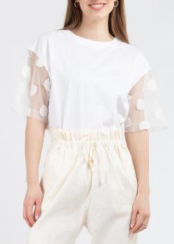 Белая футболка Fabiana Filippi прозрачными рукавами, фото