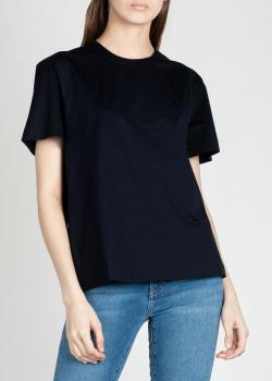 Однотонная футболка Jil Sander темно-синего цвета, фото