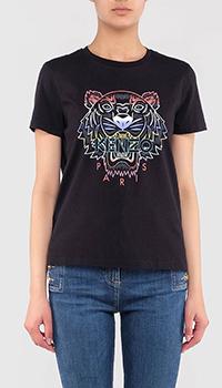 Черная футболка Kenzo с градиентным тигром, фото