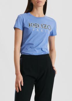 Голубая футболка Kenzo с брендовым принтом, фото